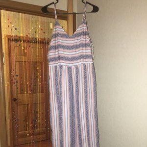 Japna Women's XL Striped Blue Sleevless Jumpsuit